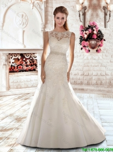 Elegant New Style Mermaid Scoop Brush Train Beading Wedding Dresses for 2016