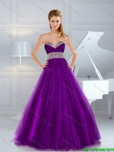 2015 Fall Gorgeous A Line Beaded Purple Prom Dresses with Brush Train