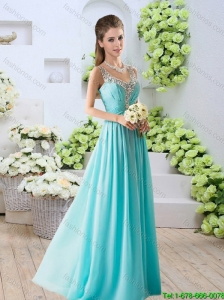 2015 Fall Perfect Beaded V Neck Side Zipper Prom Dresses in Aqua Blue