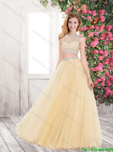 Discount 2015 A Line Prom Gowns with Beading in Champagne