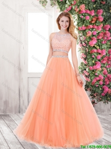 2015 Elegant A Line Prom Dresses with Beading in Orange