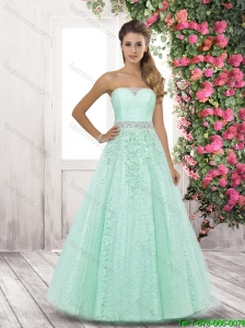 2015 Fall Elegant Strapless Side Zipper Prom Dresses in Apple Green