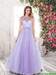 2015 Fall Fashionable Open Back Beaded Prom Dresses in Lavender