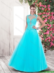 2015 Fall Popular Side Zipper Prom Dresses with Appliques and Beading