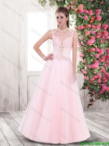 2016 Spring Elegant A Line High Neck Prom Dresses with Appliques