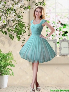 2016 Spring Short Straps Knee Length Bridesmaid Dresses in Turquoise