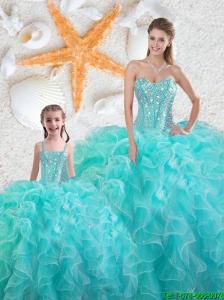 2015 Fall Beautiful Aqua Blue Macthing Sister Dresses with Beading and Ruffles