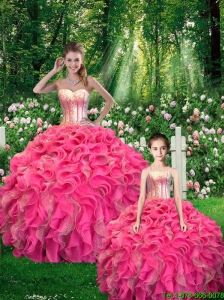 2015 Fall Beautiful Ball Gown Sequined Macthing Sister Dresses with Ruffles