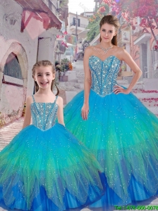 2015 Fall Classical Beaded Ball Gown Macthing Sister  Dresses with Sweetheart