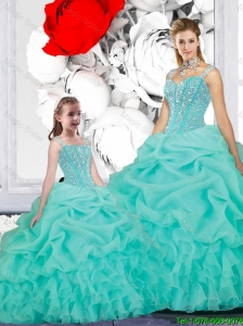 2015 Fall New Style Ball Gown Straps Macthing Sister Dresses in Turquoise