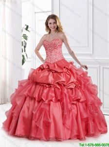 Gorgeous Appliques and Beaded Quinceanera Dresses with Sleeveless  in Watermelon