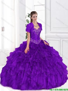 Popular Beaded and Ruffles 2015 Purple Quinceanera Dresses
