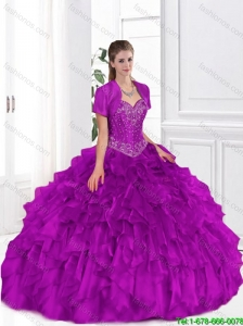 2016 Cheap Beaded and Ruffles Sweet 16 Gowns in Fuchsia