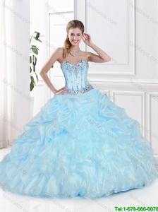Beautiful Sweetheart Quinceanera Gowns with Beading and Pick Ups in Light Blue