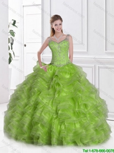 New Style Straps Beaded Quinceanera Dresses in Spring Green