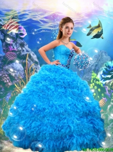 Pretty Sweetheart Quinceanera Dresses with Beading and Ruffles in Blue