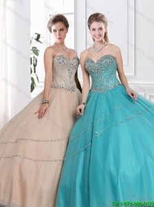 2016 Discount Sweetheart Quinceanera Gowns with Beading in Summer