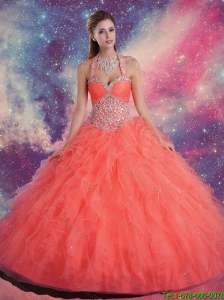 2016 Fashionable Halter Top Quinceanera Dresses with Beading and Ruffles