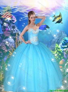 2016 Feminine Sweetheart Beaded and Sequins Quinceanera Gowns in Baby Blue in  Summer