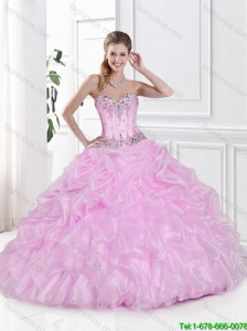 2016 New Arrivals Ball Gown Beaded Quinceanera Gowns with Pick Ups