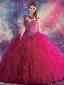 2016 Perfect Straps Beaded and Ruffles Quinceanera Gowns in Fuchsia