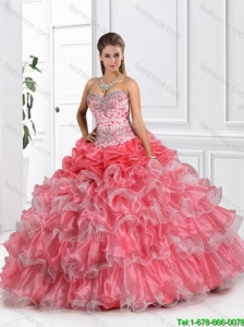 Fashionable Coral Red Quinceanera Dresses with Ruffled Layers for 2016