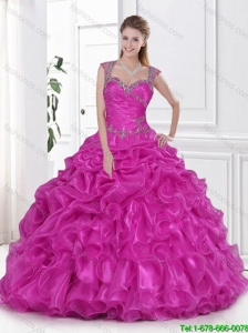 Gorgeous 2016 Fuchsia Quinceanera Dress Beading and Pick Ups
