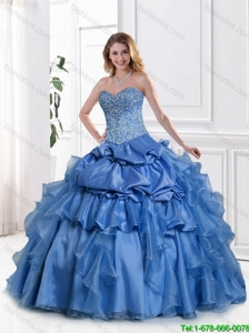Hot Sale 2016 Blue Sweet 16 Gowns with Appliques and Beading in Blue