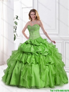 2016 Latest Appliques Spring Green Quinceanera Gowns with Pick Ups