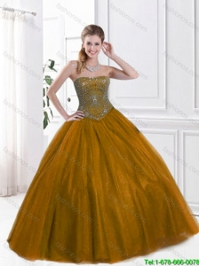 2016 Pretty Strapless Ball Gown Sweet 16 Dresses with Beading