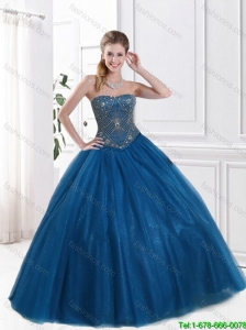Classical Blue Ball Gown Quinceanera Dresses with Beading in 2016 Spring