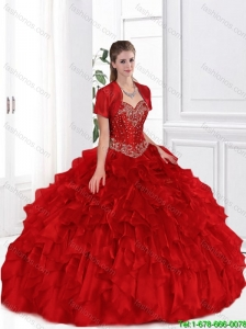 Discount Beaded Red Sweetheart New Arrival Quinceanera Gowns for 2016