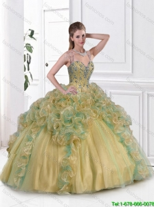 Fashionable Beaded Multi Color Sweet 16 Gowns with Straps for 2016