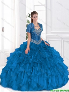 Pretty Ball Gown Beaded and Ruffles 2016 Sweet 16 Dresses for Fall