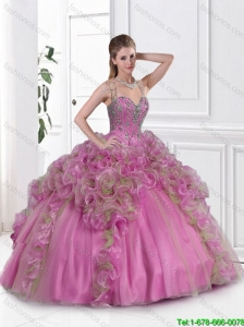 2016 Best Selling Straps Beaded Quinceanera Gowns in Multi Color