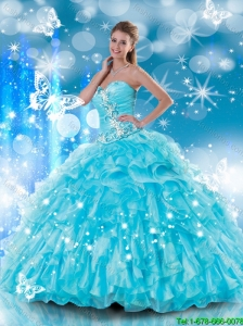 2016 Fashionable Sweetheart Beading and Ruffles Quinceanera Gowns in Aqua Blue