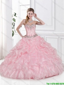 2016 Popular Sweetheart Beaded and Pick Ups Quinceanera Dresses