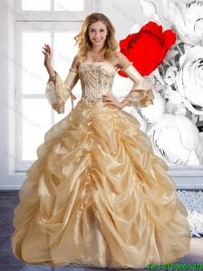 Beautiful Strapless Champagne Quinceanera Dresses with Beading