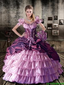 Dynamic V Neck Pick Ups Quinceanera Dresses with Ruffled Layers