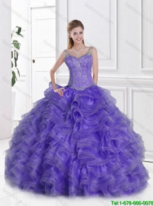 Fashionable Ball Gown Lavender Sweet 16 Dresses with Straps