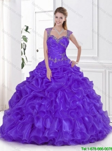 New Arrival Beading and Ruffles Sweet 15 Dresses in Eggplant Purple