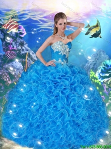 Popular Sweetheart Beaded and Ruffles Quinceanera Gowns in Blue for 2016
