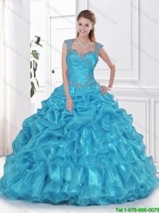 Wonderful 2016 Beading and Ruffles Aqua Blue Sweet Fifteen Dresses
