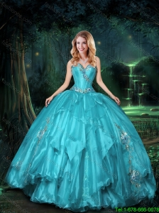 2015 Feminine Sweetheart Quinceanera Dresses with Appliques and Ruffles