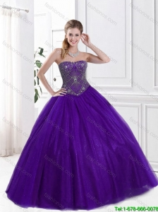 2016 Hot Sale Beaded Purple Quinceanera Dresses with Strapless