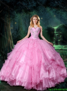 2016 Perfect Sweetheart Quinceanera Dresses with Beading And Ruffles
