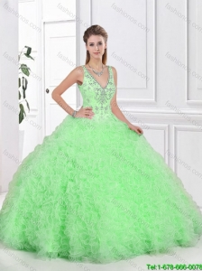 Beautiful Open Back Spring Green Sweet 16 Dresses with Ruffles