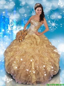 Fashionable Strapless Beading and Ruffles Quinceanera Gowns in Champagne
