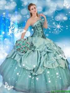 Modest Strapless Quinceanera Dresses with Sequins and Pick Ups