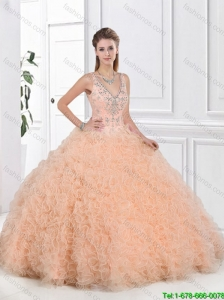 Pretty V Neck Peach Quinceanera Dresses with Open Back in 2016 Summer